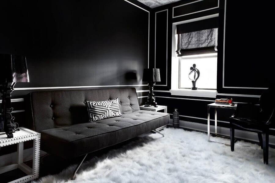 decoração de sala preta com tapete felpudo branco Foto Futurist Architecture