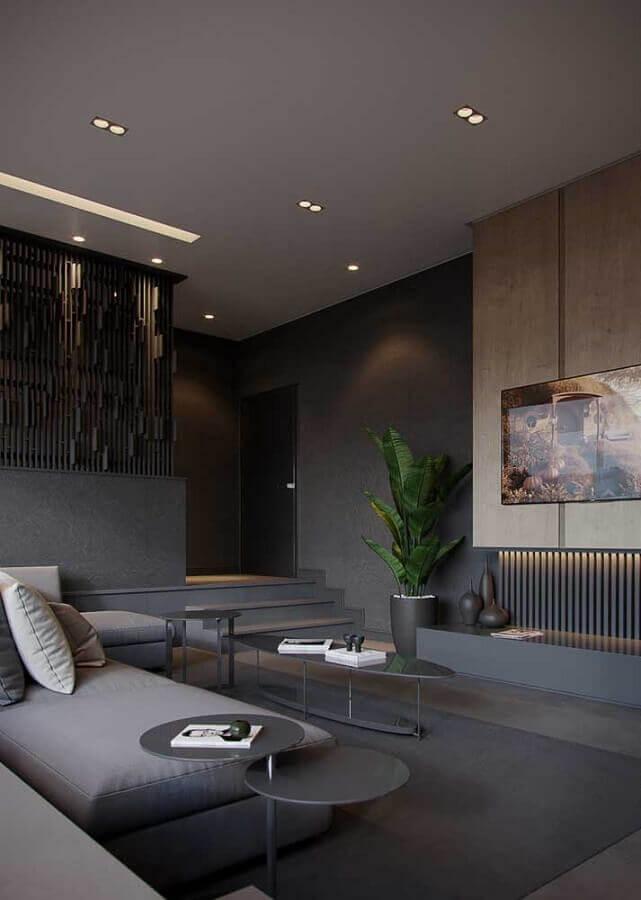 decoração de sala preta e cinza moderna Foto Pinterest