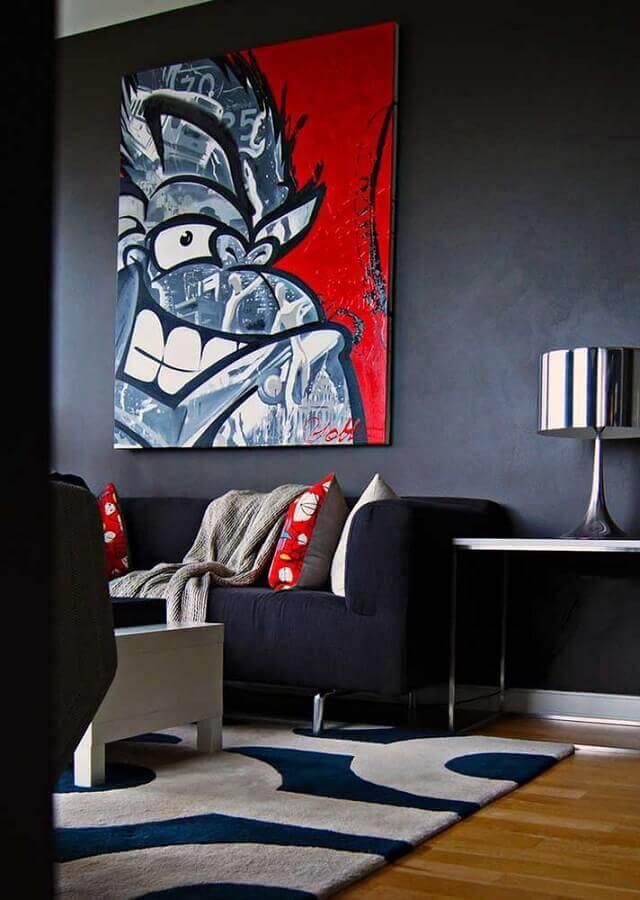 decoração de sala preta e vermelha com tapete estampado Foto Pinterest