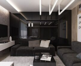 decoração de sala preta moderna com tapete cinza Foto Pinterest