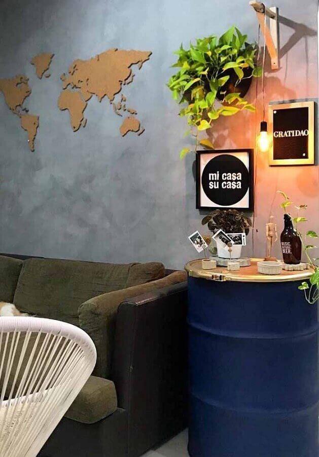 decoração de tambor para sala simples com parede de cimento queimado Foto Futurist Architecture