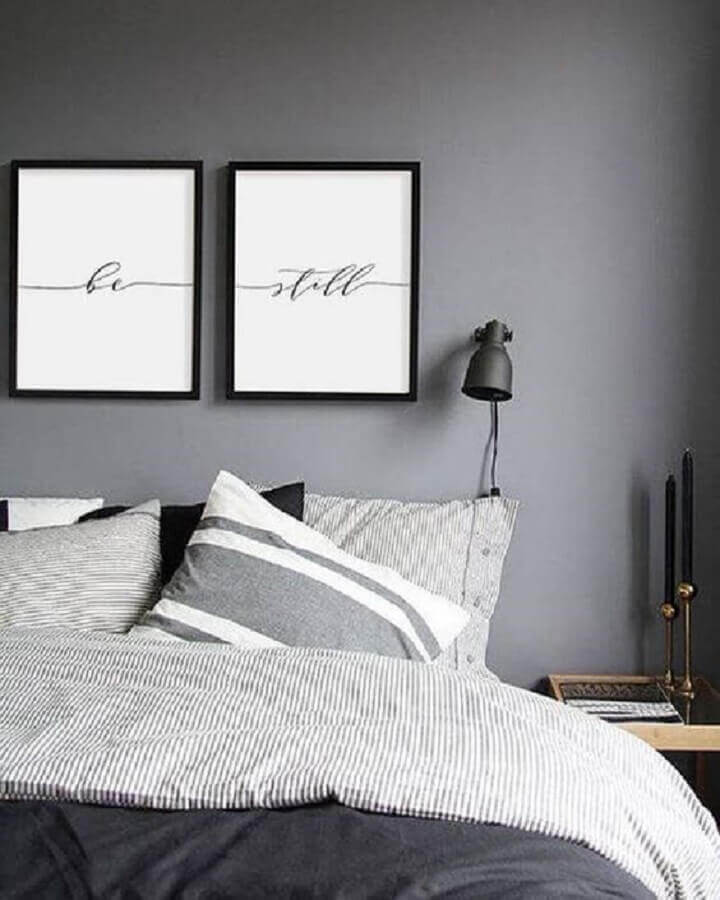 decoração moderna com abajur de parede para quarto cinza Foto Pinterest