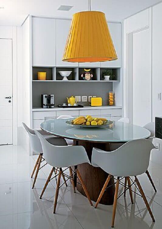 decoração moderna com fruteira como centro de mesa de jantar Foto Pinterest