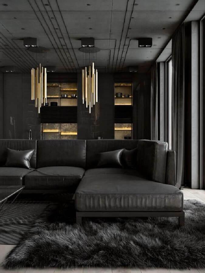 decoração moderna e sofisticada com tapete para sala preto felpudo Foto TheUnstitchd