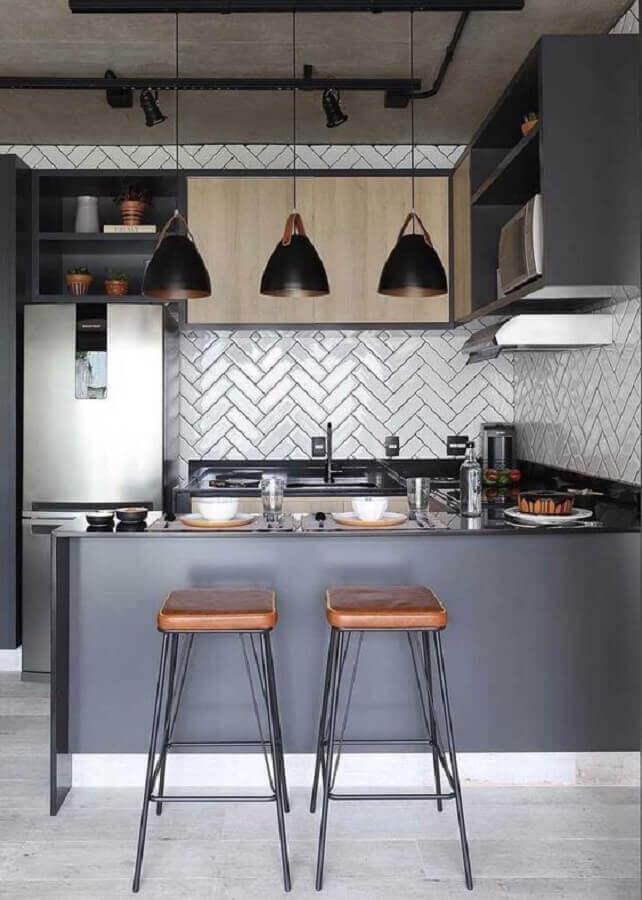 decoração moderna para cozinha americana compacta com balcão planejado Foto Pinterest