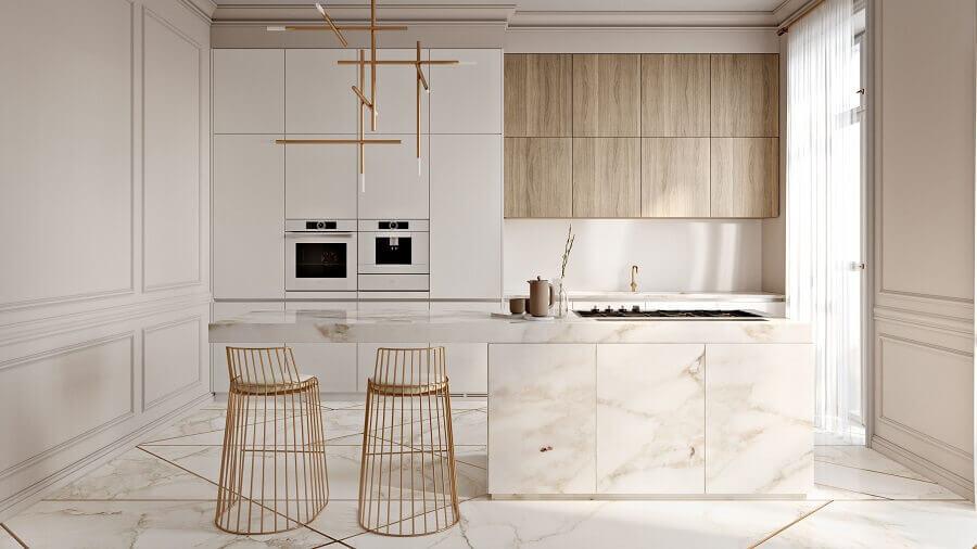 decoração moderna para cozinha com ilha planejada na cor de pérola Foto Behance