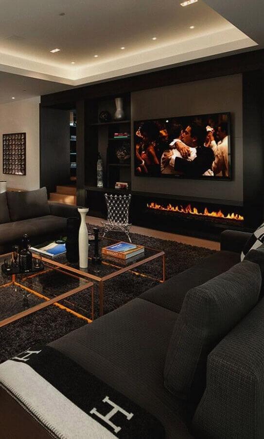decoração moderna para sala preta com lareira elétrica Foto Pinterest