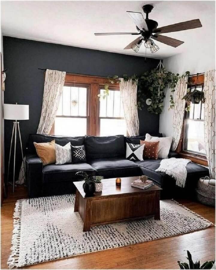 decoração simples para sala com sofá preto Foto Pinterest