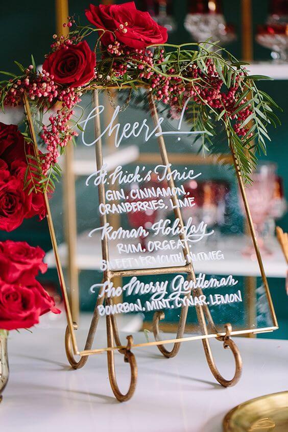 Placa decorativa com rosas vermelhas