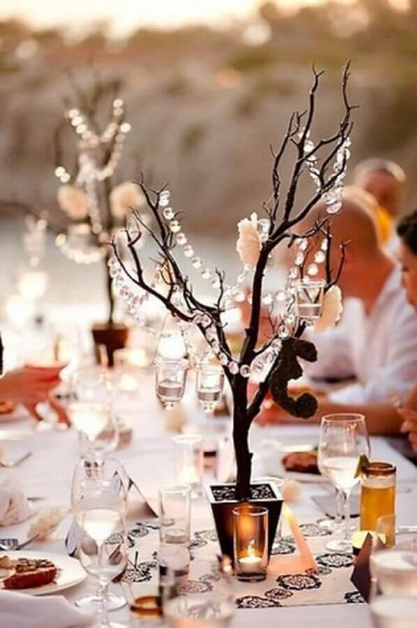 delicada decoração bodas de cristal rústica ao ar livre Foto Pinterest