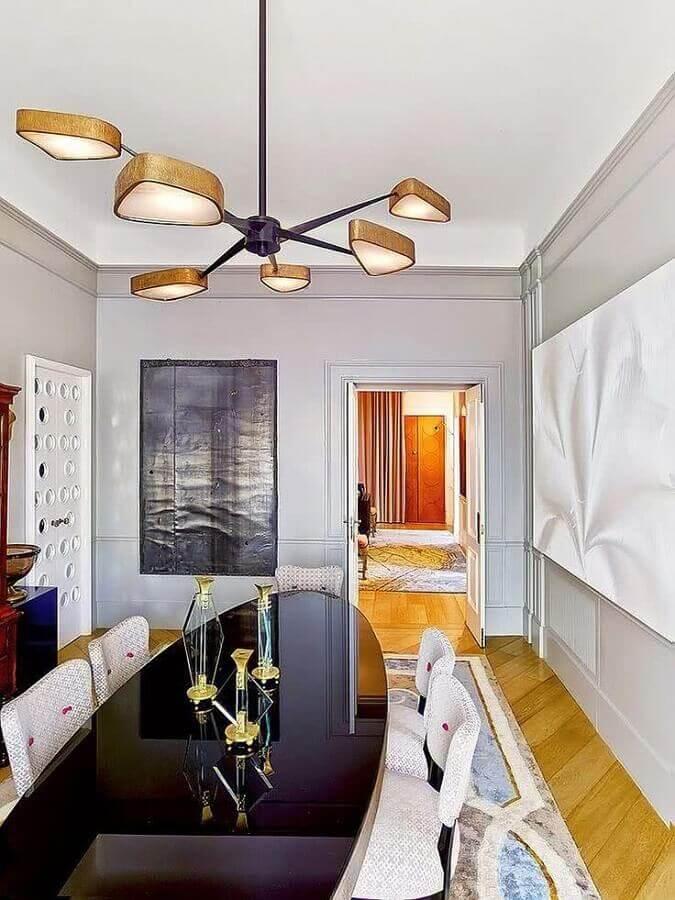 design moderno de lustre para mesa de jantar oval preta Foto Pinterest