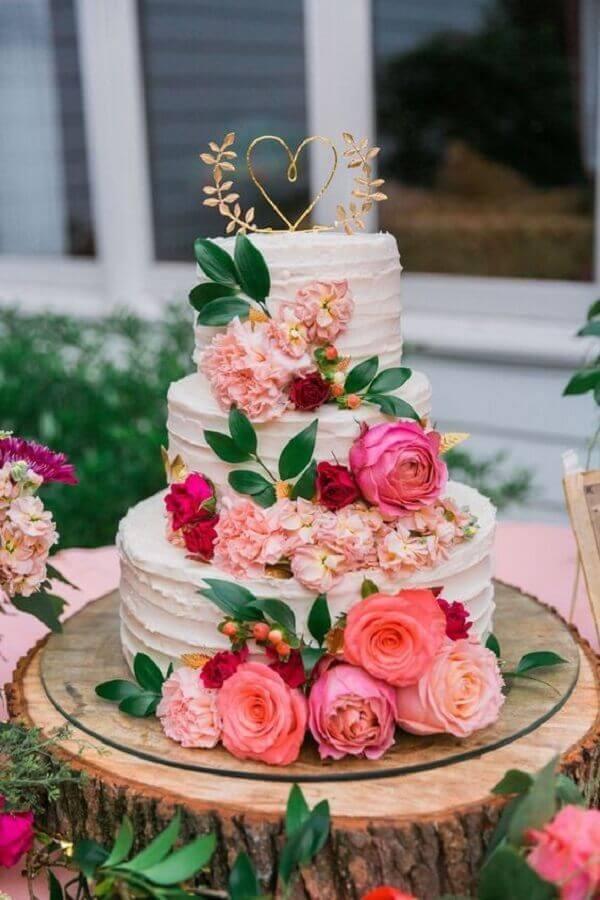 flores cor de rosa para decoração de bolo bodas de cristal Foto Pinterest