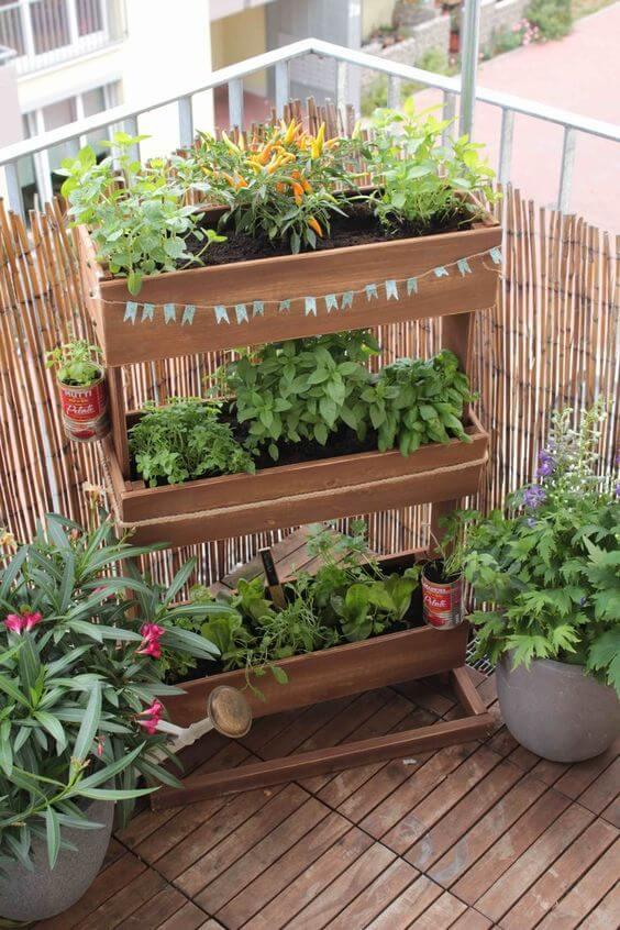 Horta no quintal pequena