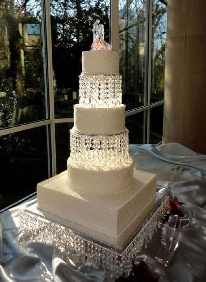 ideia de bolo decorado para bodas de cristal Foto Pinterest