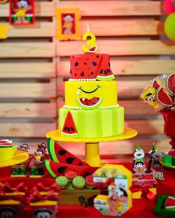 ideia divertida para bolo decorado de mesa de festa da magali Foto Mania Kids Eventos