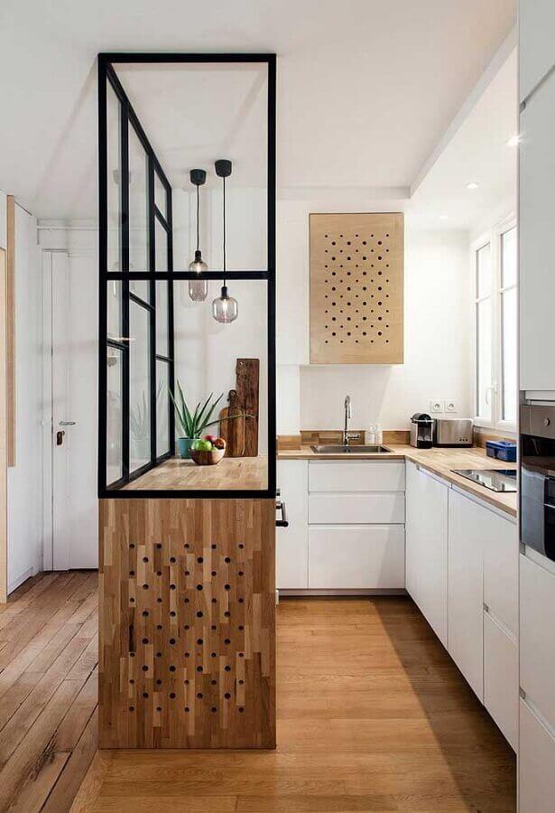 ideias de bancada para cozinha pequena em madeira Foto Archzine