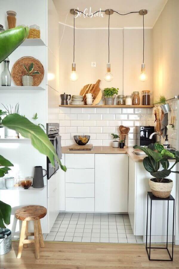 ideias de bancada para cozinha pequena planejada Foto Pinterest