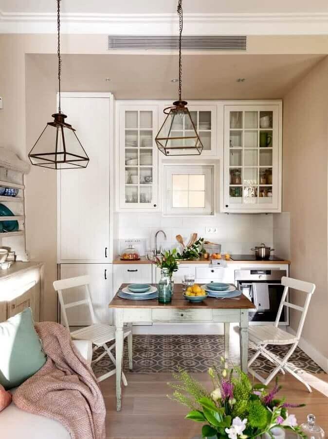 ideias de mesa para cozinha pequena decorada com estilo vintage Foto Pinterest