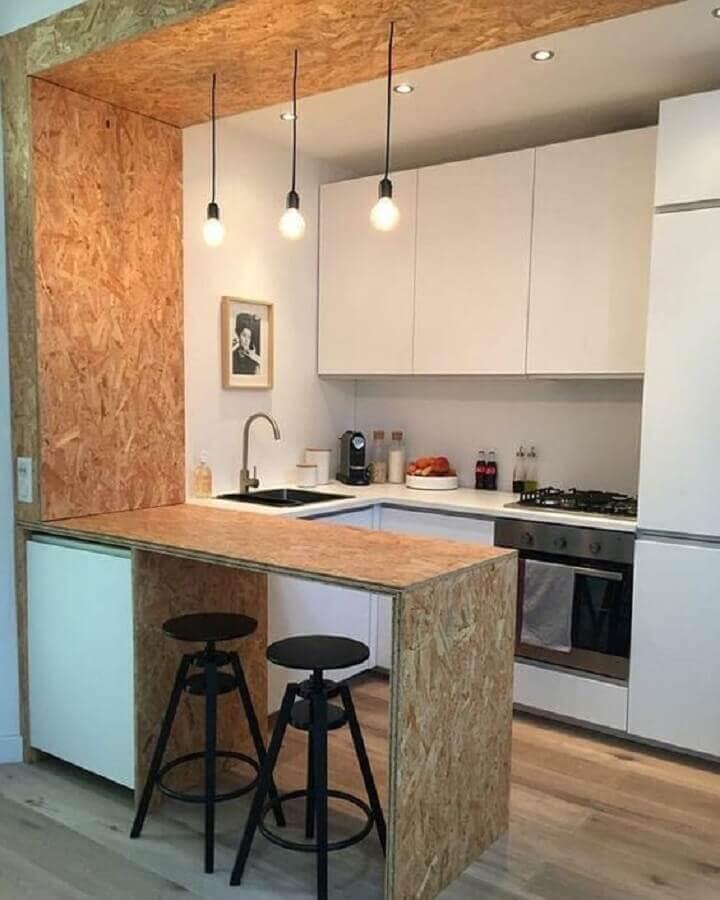 ideias para cozinha americana pequena decorada com armários brancos planejados Foto Eu Capricho