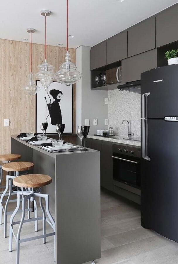 ideias para cozinha pequena de apartamento cinza Foto Pinterest