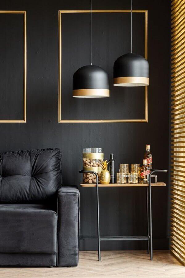 luminária pendente moderna para decoração de sala preta Foto Pinterest