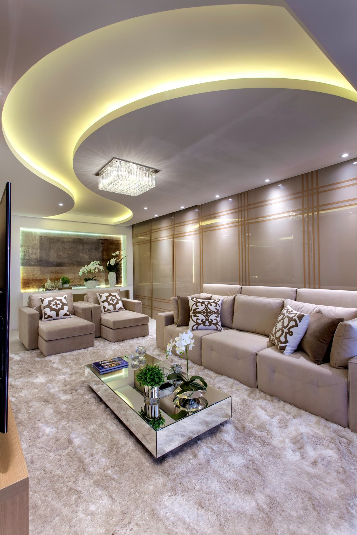 Luminárias de teto para sala de sobrepor com sanca iluminada