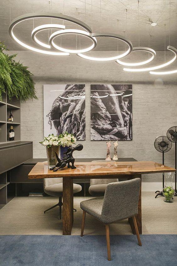 Luminárias de led decorativas na casa moderna