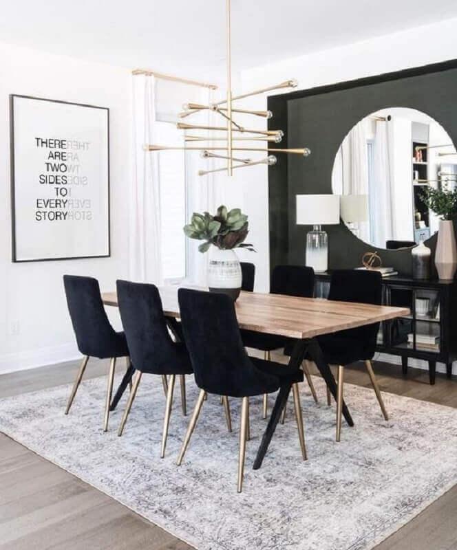 lustre moderno para mesa de jantar de madeira Foto Print Hang Love