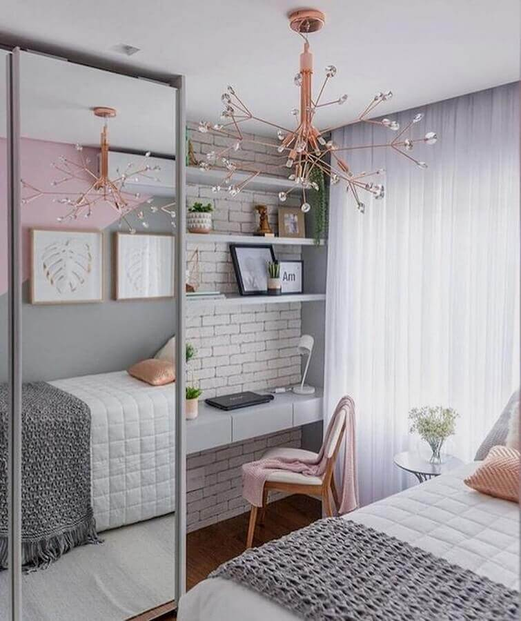 móveis para quarto feminino cinza branco e rosa Foto Pinterest