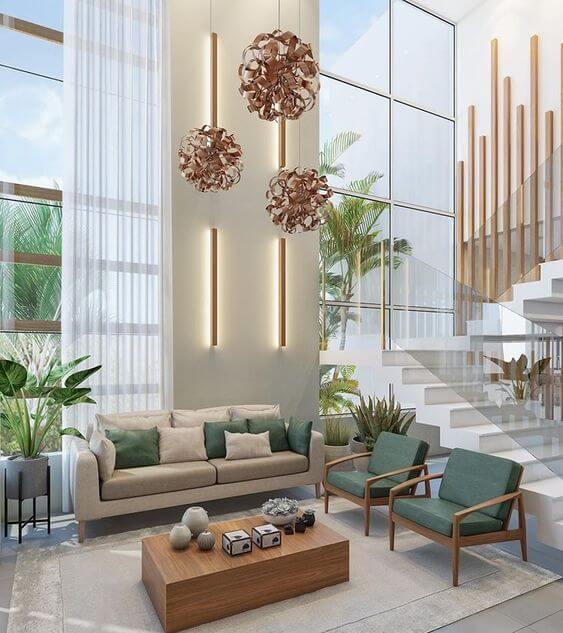 Sala de estar com decoração moderna