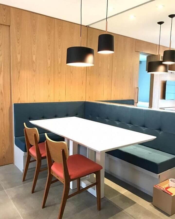 mesa com banco de canto para sala de jantar moderna planejada Foto Daniela Marques