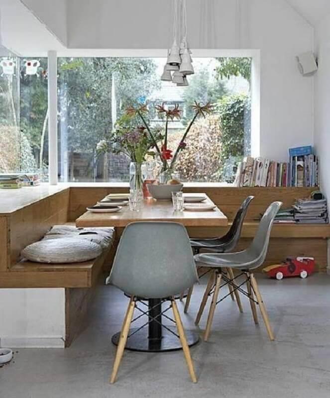 mesa com banco de canto para sala planejada Foto Style Me Pretty