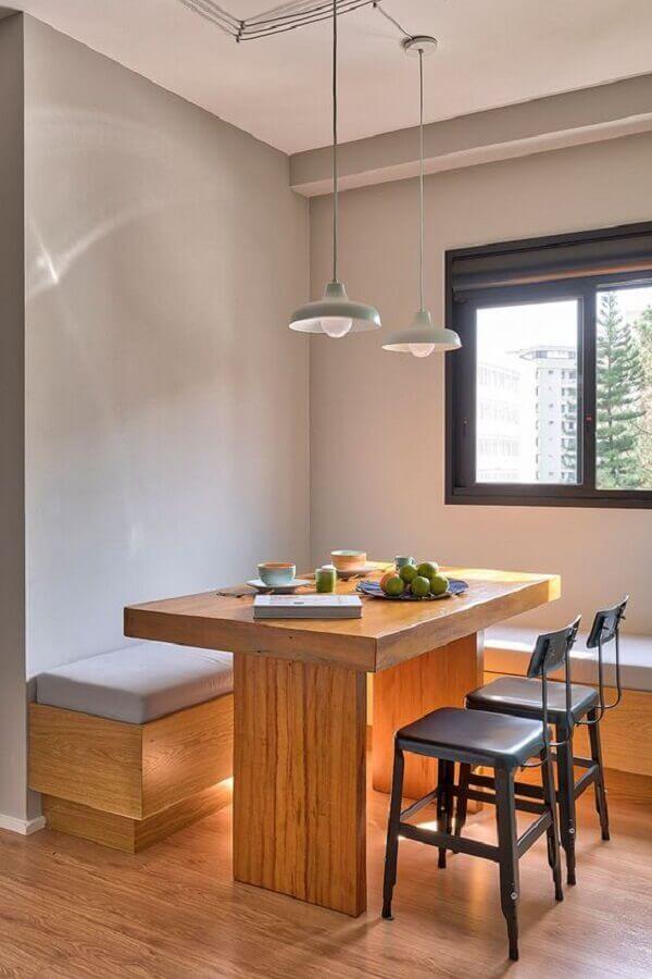 mesa com banco e cadeira para sala de jantar minimalista Foto Casa de Valentina