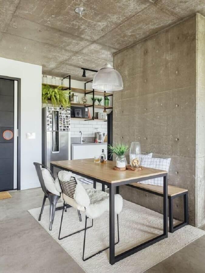 mesa com banco e cadeiras para decoração de sala de jantar com estilo industrial Foto Futurist Architecture