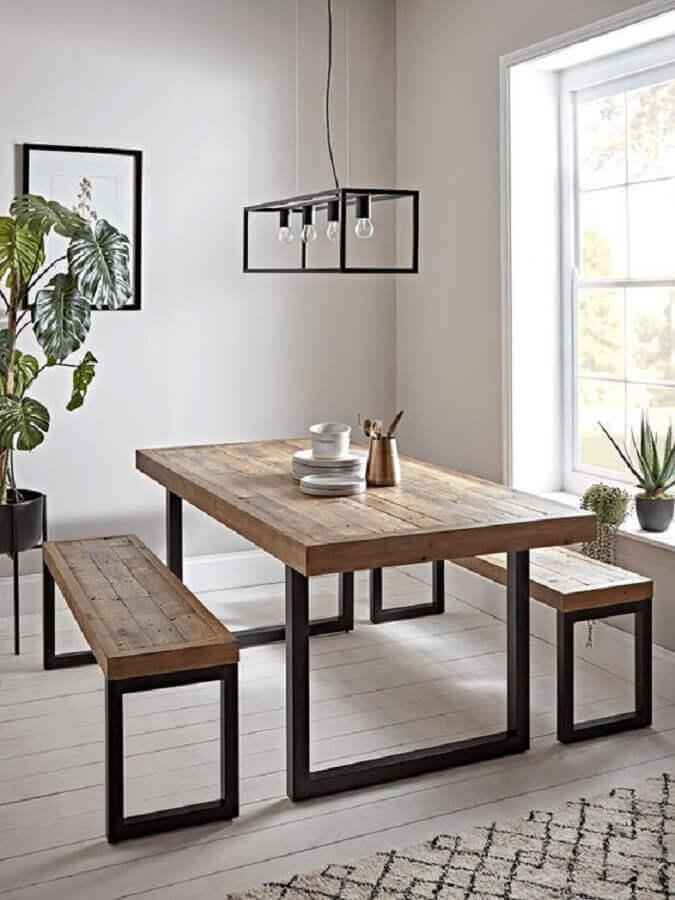 mesa com banco estilo industrial para sala de jantar toda branca minimalista Foto Pinterest