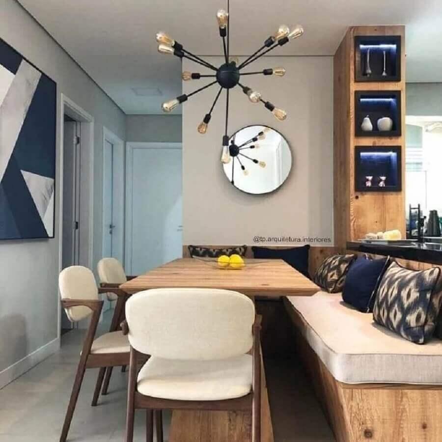 mesa com banco estofado para sala de jantar com luminária de teto moderna Foto Thaila Pacheco
