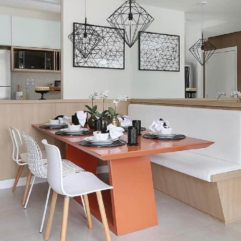 mesa de jantar com banco e cadeiras para sala de jantar moderna planejada Foto Pinterest
