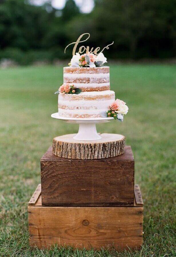 naked cake para festa bodas de cristal Foto My Wedding Favors