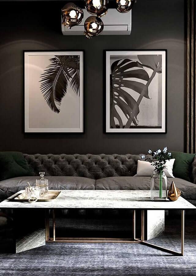 quadros para decoração de sala com parede preta Foto Home Fashion Trend
