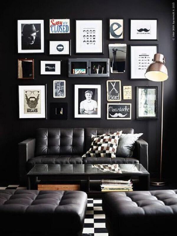 quadros para decoração de sala preta Foto Bugre Moda
