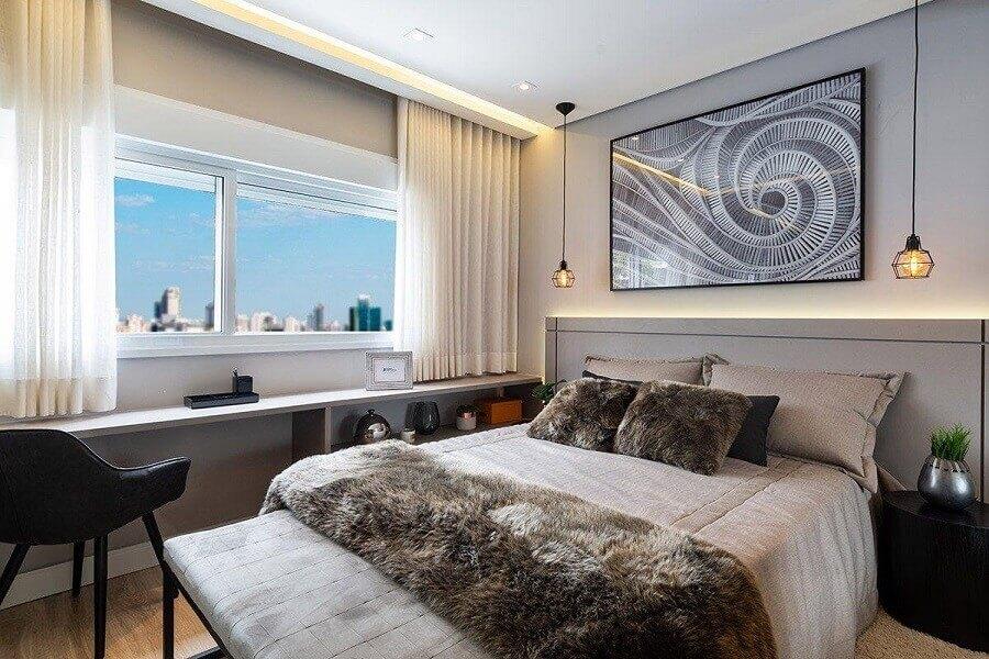 quarto de casal moderno decorado com peseira de pelos Foto Studio decor4home
