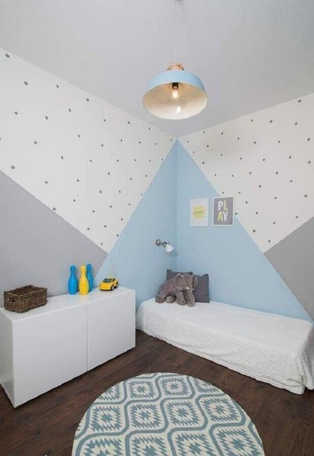 quarto infantil minimalista decorado com tinta azul pastel Foto Pinterest