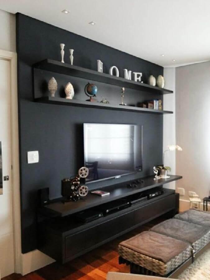 rack suspenso para decoração de sala preta Foto Pinterest