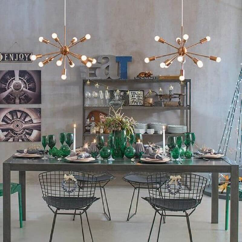 sala de jantar cinza moderna decorada com lustre para mesa de jantar Foto Pinterest