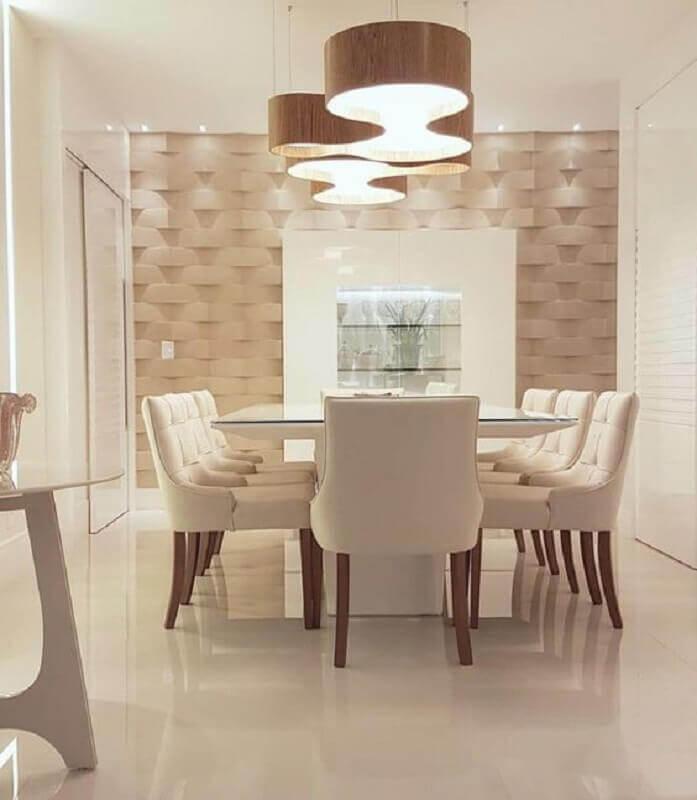 sala de jantar em cores neutras decorada com lustre moderno para mesa de jantar Foto Futurist Architecture