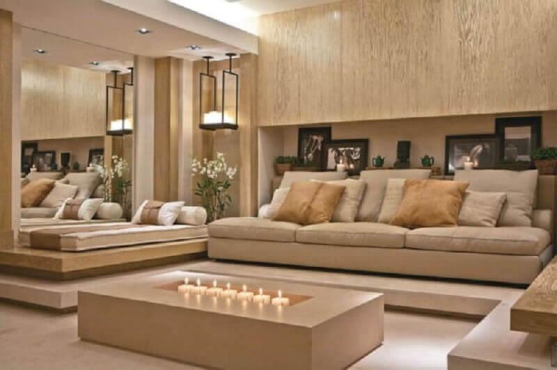 sala moderna decorada na cor de pérola Foto Rosa Lima Arquitetura