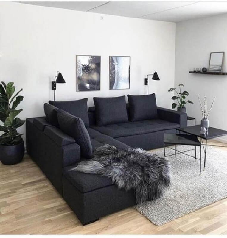 sofá de canto para decoração de sala preta e branca Foto Pinterest