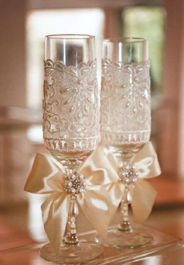 taças decoradas para bodas de cristal Foto Pinterest