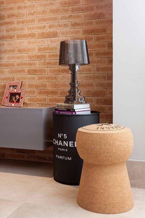 tambor decorativo chanel decorado com abajur Foto Casa de Valentina