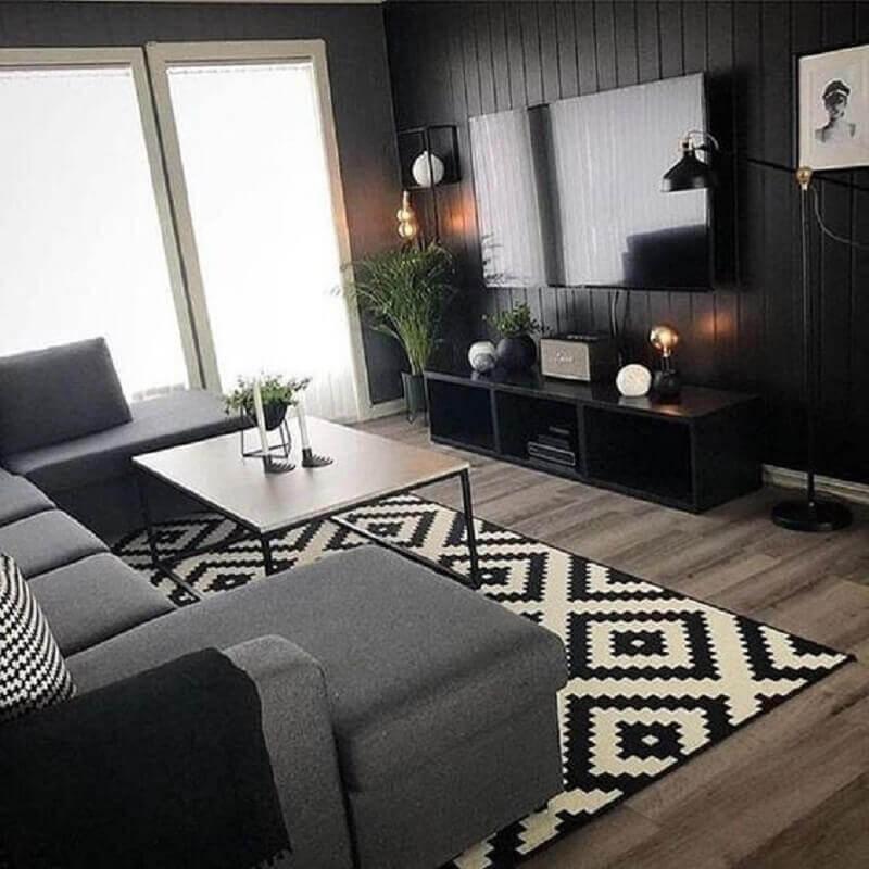 tapete preto e branco para decoração de sala preta com sofá cinza Foto Pinterest
